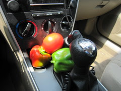 Still Life: Vegetables and Stick Shift