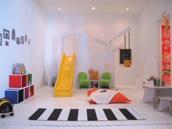 Little boy's traditional playroom yellow slide zebra pedestrian crossing rug on white