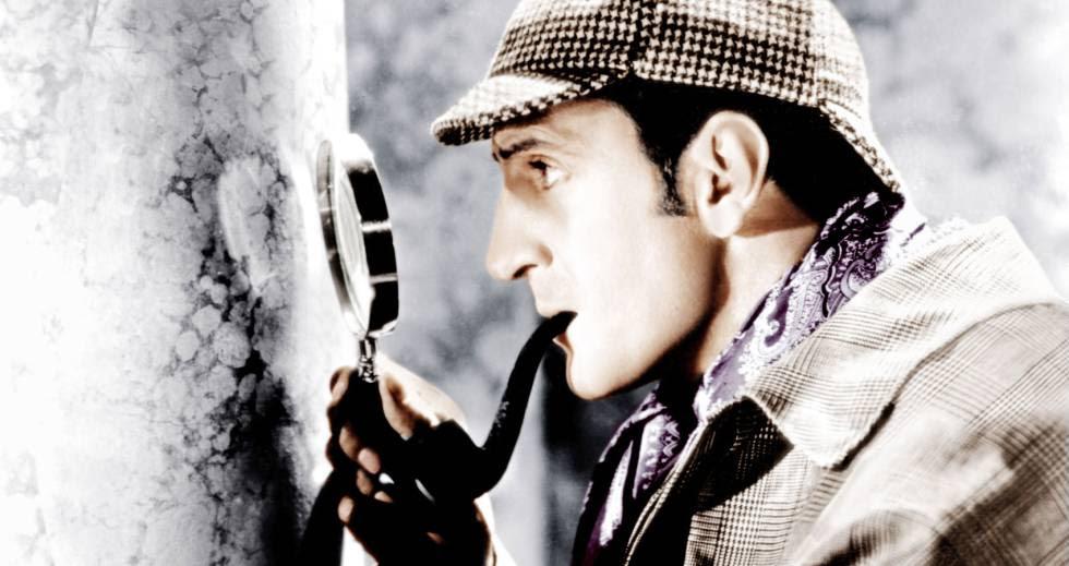 Basil Rathbone en el papel de Holmes.