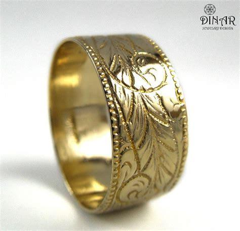 14k Gold wedding band ,wide wedding ring band, Engraved
