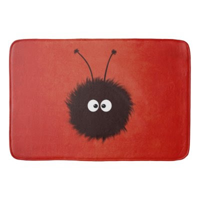 Red Cute Dazzled Bug Bath Mats
