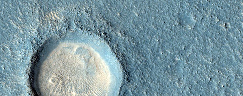 A crater on Arcadia Planitia, a large flat region of Mars.