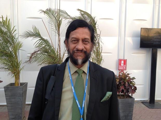 O cientista indiano Rajendra Pachauri, presidente do IPCC, está em Lima para as discussões sobre o clima (Foto: Eduardo Carvalho/G1)
