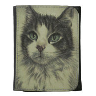 Drawing of Cat with Red Nose on Wallet