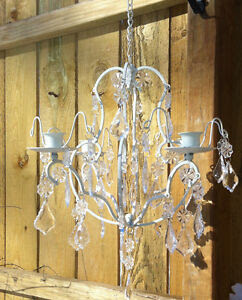 Chic Ivory Shabby hanging crystal Chandelier Candle Holder ...