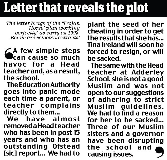Revelations: Extracts from the 'Trojan Horse' letter which revealed the plot