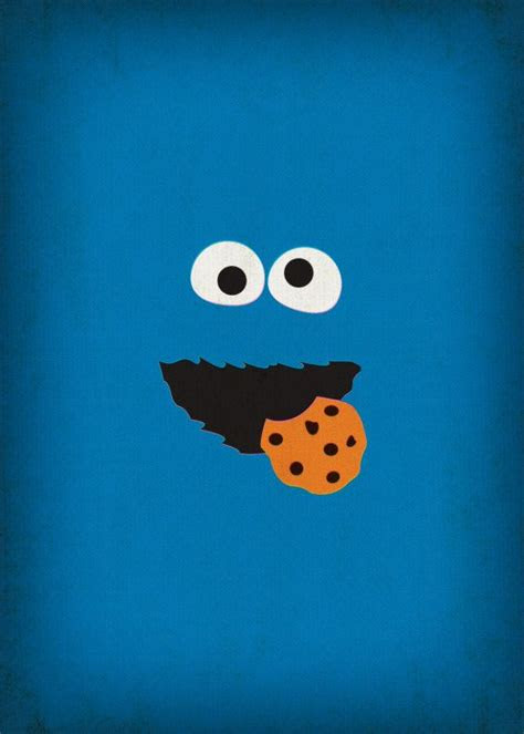 sesame street character cookie monster minimalist  theretroinc muppets monster cookies