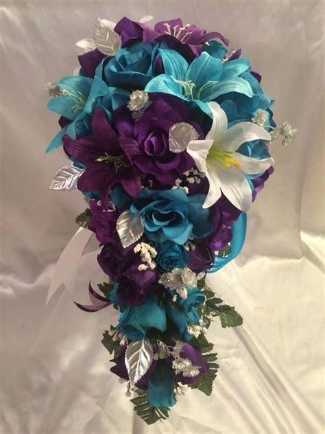 turquoise malibu purple lily wedding bridal bouquet