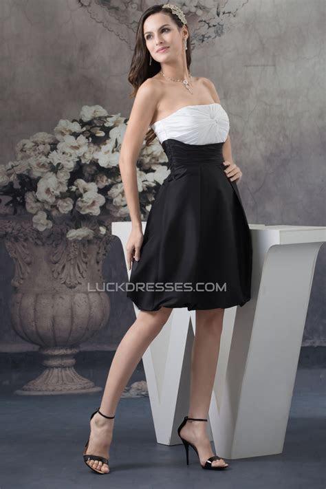 A Line Knee Length Strapless Sleeveless Black White