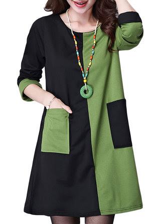 Elegant Women Long Sleeve Pocket Color Block Patchwork Straight Dress