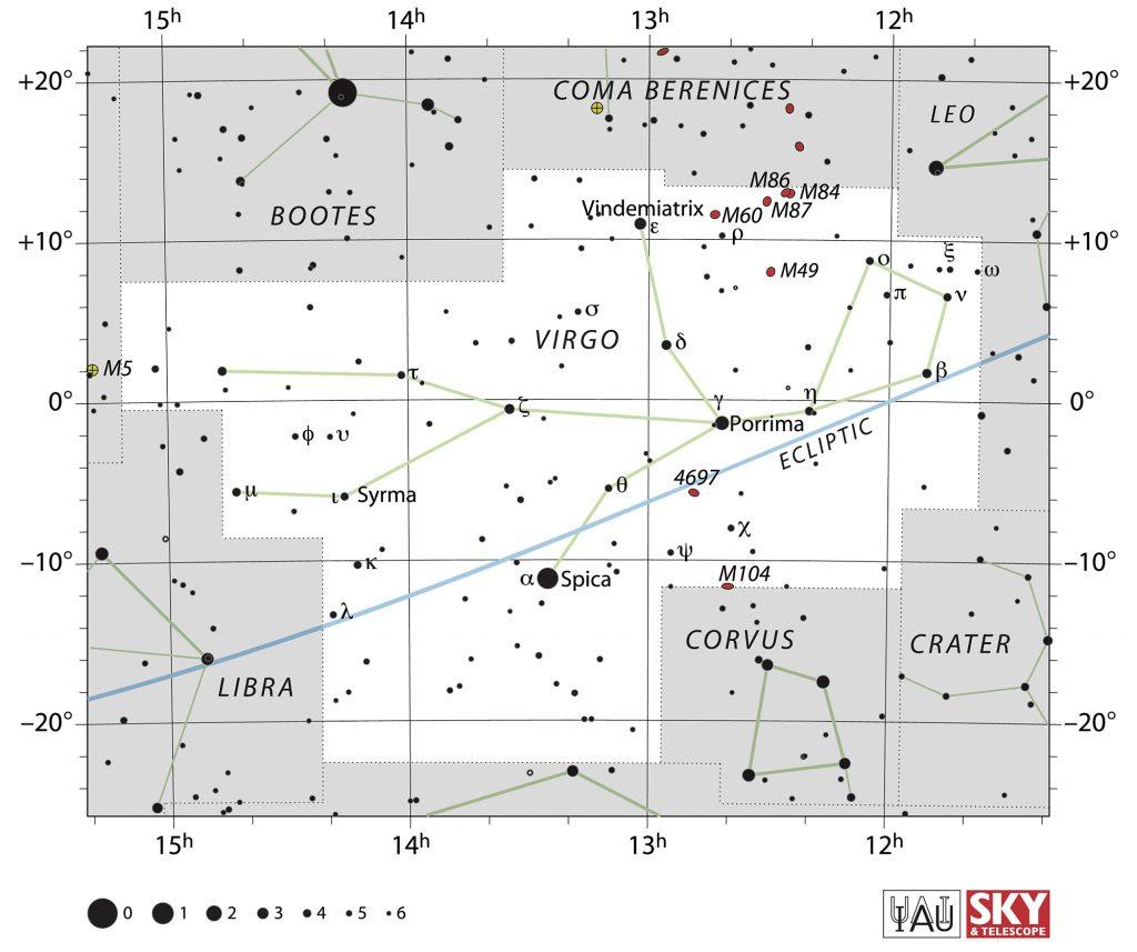 Situez La Galaxie Géante M87 Dans Le Ciel Du Printemps