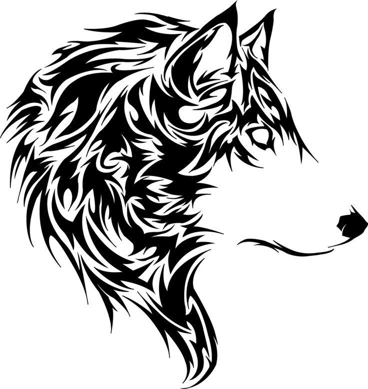 Nice Tribal Wolf Head Tattoo Design