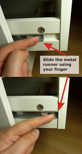 Slide the metal runner to the front