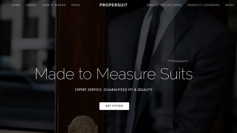 custom suits dark website layout propersuit