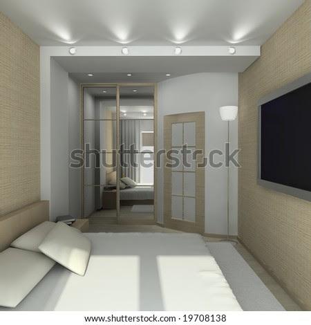 Modern Design Interior Of Bedroom. 3d Render Stock Phot