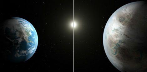 Kepler 452b (à direita) poderia estar experimentando agora o que sofrerá a Terra daqui a 1 bilhão de anos / Foto: Divulgação / Nasa