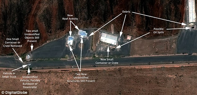 The aerial photos released by a Washington think tank purportedly show new activity at Parchin, including (from left) 'one small container removed'; 'unidentified vehicle, possibly bulldozer or steamroller', 'new roof activity', 'two new unidentified structures', 'debris' and 'possible oil spills'