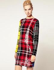 Ashish Long Sleeve Dress In Sequin Clash Tartan