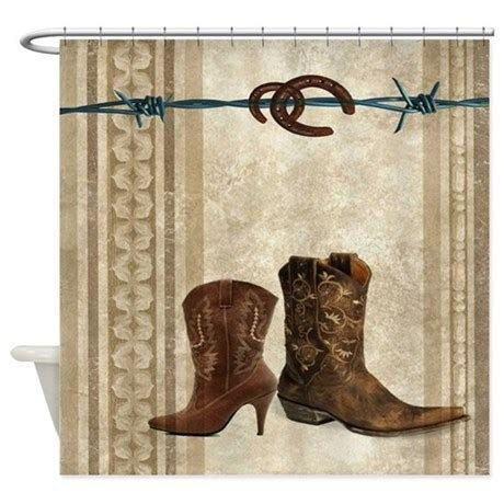 primitive western cowboy boots Shower Curtain by listing