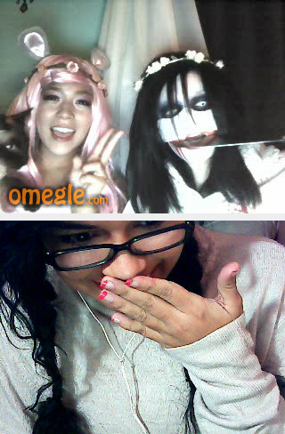 I found a Pokemon trainer from 6generation, a gosh cute with a kawaii pinky girl, Randommess Jade from Homestuck and Ritsuka from loveless. Just funny night in omegle. And yes, im bored and i dont use cosplay but ¡maybe one day i have the courage and dress a cosplay for chat in omegle too!