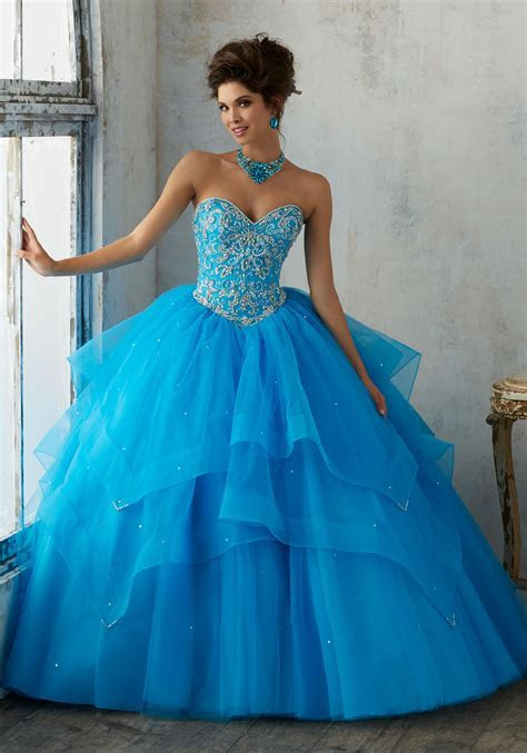 Jeweled Beading on a Flounced Tulle Ballgown   Style 89128
