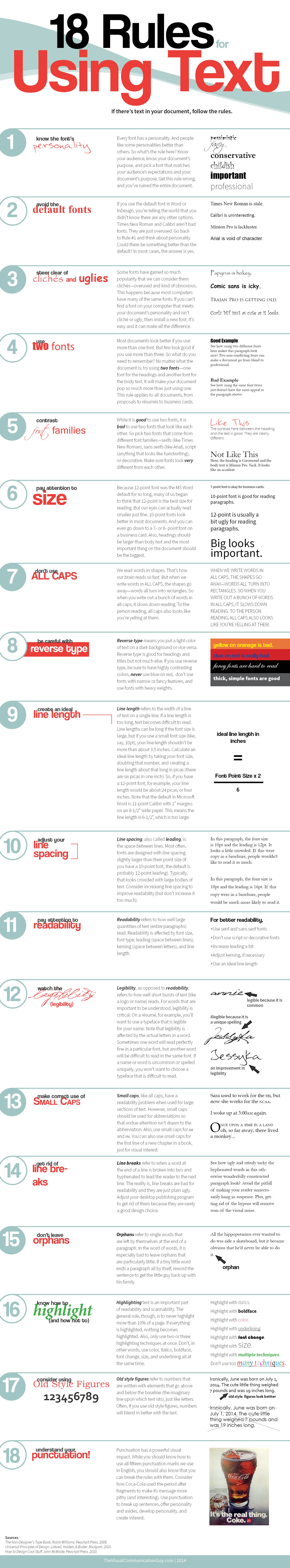 Infographic: 18 Rules for Using Text #infographic