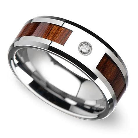 Beveled Diamond Men's Wedding Ring with Koa Wood Inlay in