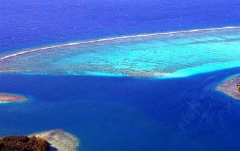 Aerial view of ocean near Mo'orea.