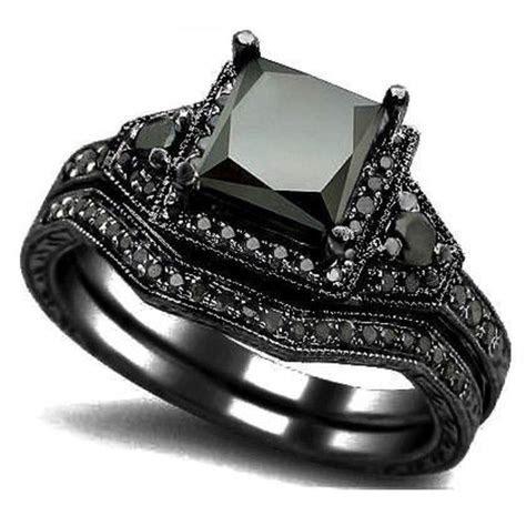 Online Cheap Sz 5 11 Black Rhodium Wedding Ring Band Set