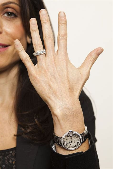 Bethenny Frankel. Diamond bezel Cartier Ballon Bleu watch