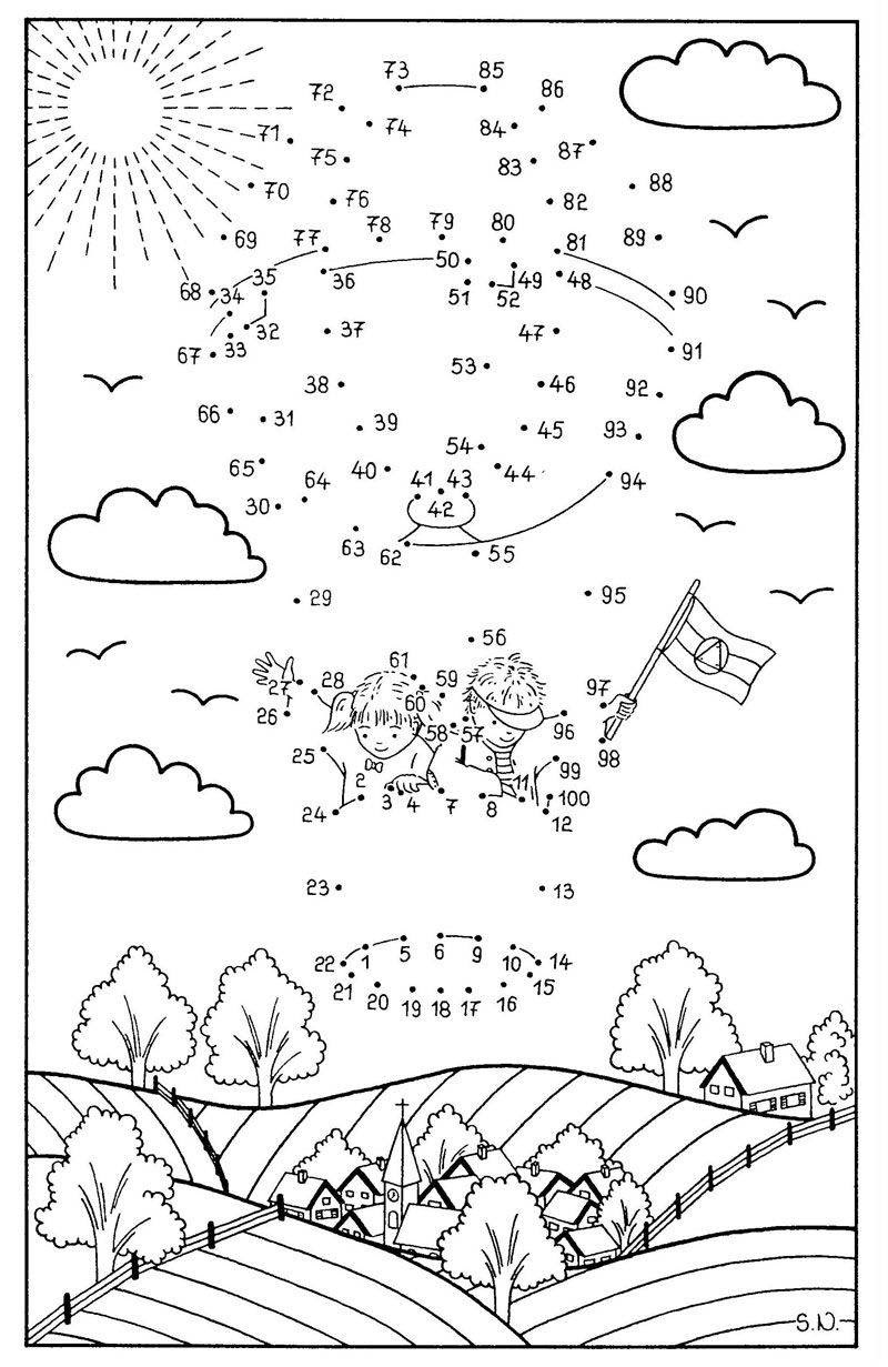 Ausmalbild Malen nach Zahlen Kinder im Fesselballon kostenlos ausdrucken
