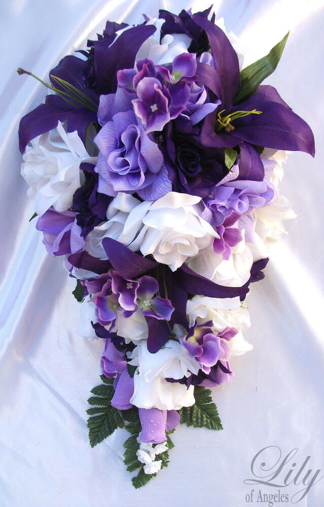 17pcs Wedding Cascade Bridal Bouquet Silk Flower Teardrop PURPLE LAVENDER WHITE  eBay