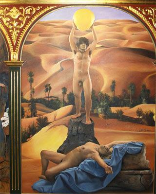 El concejal de Urbanismo y una agente municipal posan desnudos, como Adán y Eva, en una de las obras que inunda la Sala de Pintura Diego Canca.