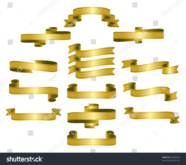 Gold Ribbon Scrolls Banners Editable Vector Stock Vector 50000356 ...