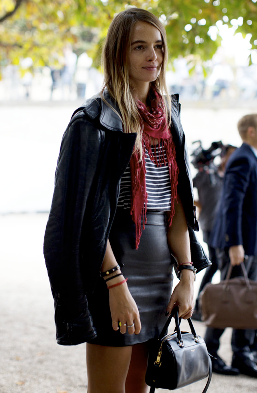 LE FASHION BLOG PFW PARIS FASHION WEEK STREET STYLE STRIPE TEE LEATHER SKIRT RED DRAPED TASSEL SCARF LEATHER MOTO JACKET HIGH WAIST WAISTED SKIRT SMALL CROSSBODY DUFFLE BAG VIA SCOTT SHUMAN SARTORIALIST photo LEFASHIONBLOGSTREETSTYLESTRIPETEELEATHERSKIRTSCARFVIASCOTTSHUMANSARTORIALIST.png