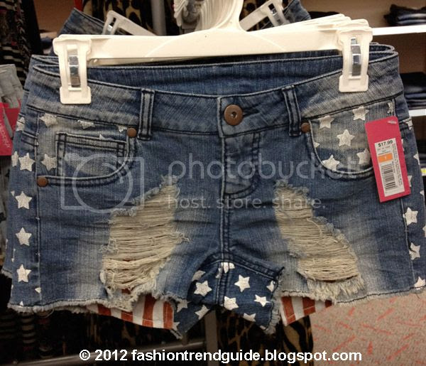 Xhilaration at Target flag print shorts, stars and stripes denim, Americana trend
