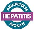 Seal with text, Hepatitis Awareness Month.