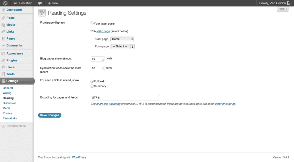 Screenshot showing the settings to make Home the default landing page for the site