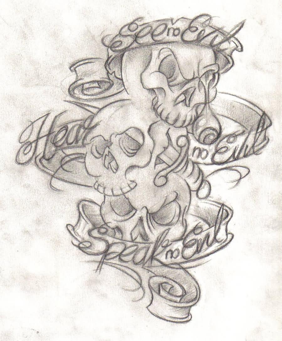 See No Evil Tattoo Design