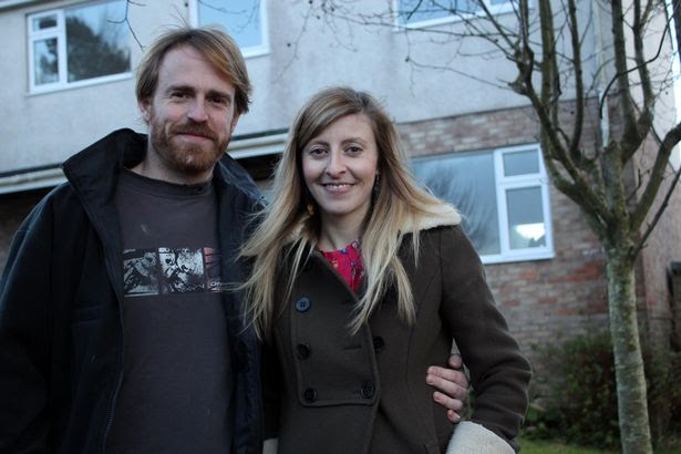 Owners Sarah and Tony outside their ugly house before George answered their plea for help