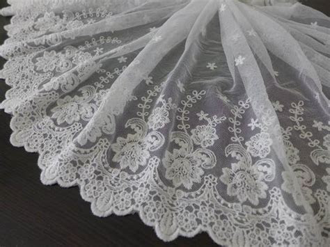 WIDE Off white Lace Trim Bridal Embroidered Floral Lace Off