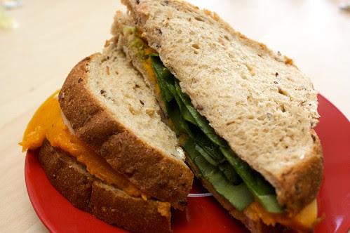 spinach and roast pumpkin sandwich