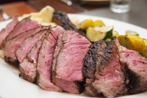 Jumbo Dry-Aged Ribeye Steak with Horseradish Mashed Potatoes and Grilled Summer Squash, Restaurant Lulu, San Francisco
