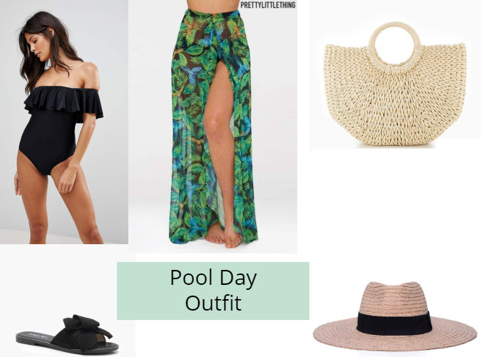 look of the day pool party outfit  stylishly beautiful