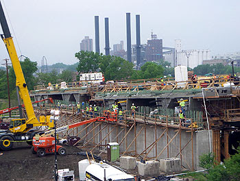 The land side of the south deck construction