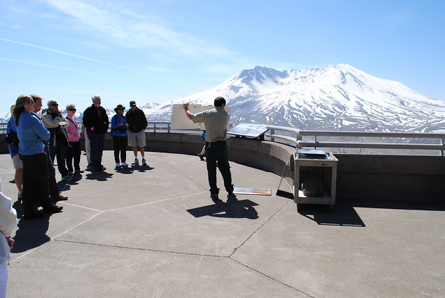 Ranger giving a scientific presentation on the eruption of Mt St Helens