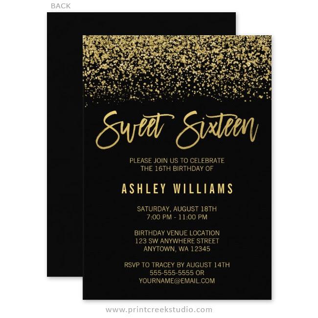 modern black gold glitter sweet 16 invitations