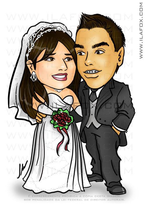 caricatura colorida casal, noivos, corpo inteiro, colorido, caricatura para casamento, noivinhos Fábio e Claris by ila fox