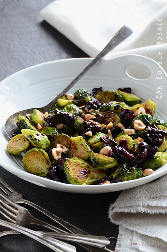 Caramelized Brussels Sprouts with Dark Cherry Sauce + Hazelnut | An Edible Mosaic