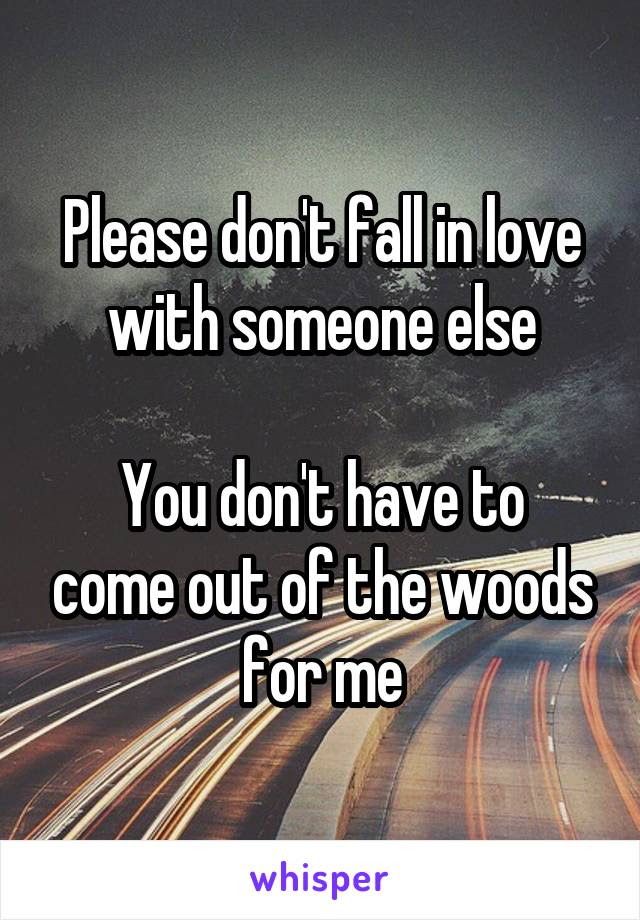 Please Dont Fall In Love With Someone Else You Dont Have To Come Out
